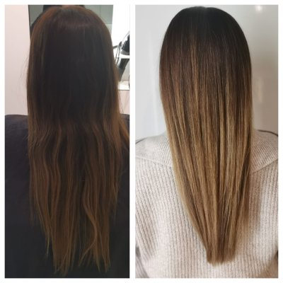 Balayage before and after done by Corina at the klinik salon