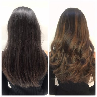 Long naturally dark hair being balayaged into a soft chestnut brown by anna at the klinik hairdressing London.