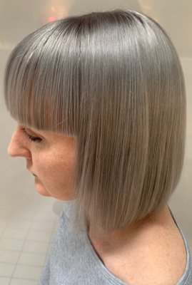 Dove Grey hair cut into a bob with a short fringe done by Anna at the klink hairdressing London