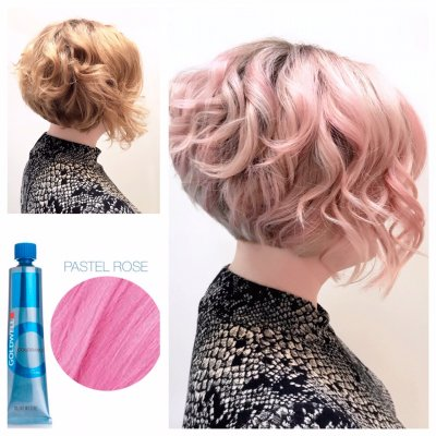 Natural copper toned hair being coloured pastel rose by Anna at the klinik hairdressing