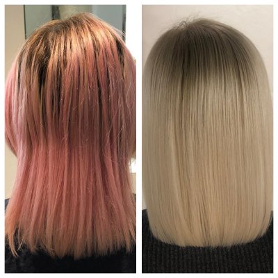 Hair colour change from pink to white by Leyla at the klinik hairdressing London