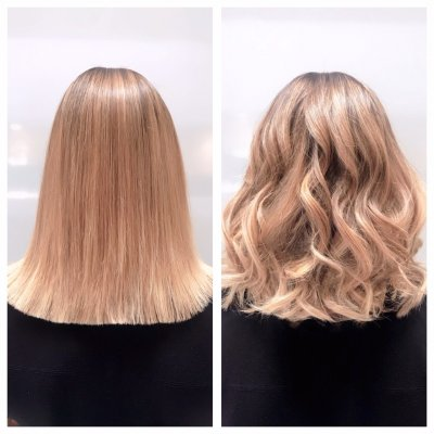 A balayage showed off in two different finishes, straight or curly done by Anna at the klinik salon London.