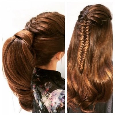 Long hair has been fishtailed and then after kept loose or put up in a pony tail! All at the klinik hairdressing London Farringdone Clerkenwell EC1R 4QE