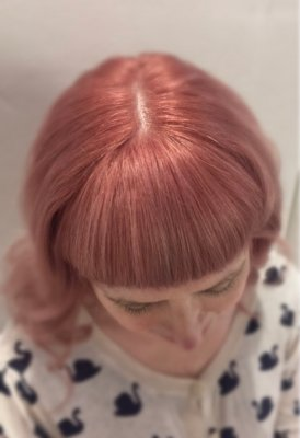 Hair prelightened using Wella Blondor and Olaplex. After using a 9.02 and Clear Dia Richesse and then to top it off the New Dia Richesse Rose gold .24.