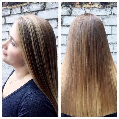Hair has been coloured into a natural balayage to give a sunkissed finish. At the klinik salon Islington London