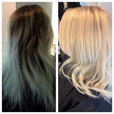 Before and after done by Leyla, a green/blue hair has been cleansed and bleached to a clean white blonde