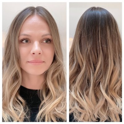 Summer blonde balayage with a beachy wave throughout the hair done by Anna at the klinik hairdressing London