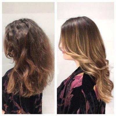 Soft and subtle balayage by Leyla at the klinik hairdressing London EC1R 4QE. Using Wella bleach, Goldwell toner and Olaplex.