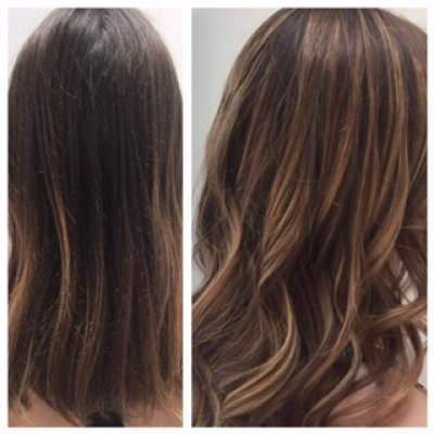 Naturally dark hair has been coloured using a balayage technique to create a soft blend by Yasmin at the klinik hairdressing