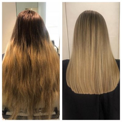 Long medium blonde hair being upgraded to an amazing fresh blonde with a healthy chop by Leyla at the klinik salon London