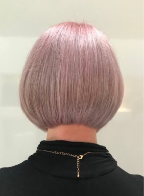 Hair cut into a sharp bob by Anna at the kinik hairdressing London