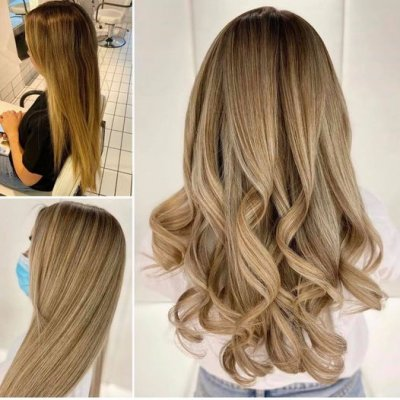 Before and after from brassy blonde to cool blonde by Leyla at the klinik salon London