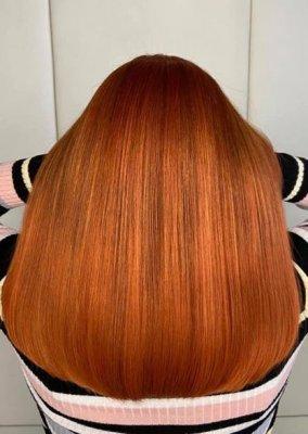 Bright copper toned hair at the klinik salon London