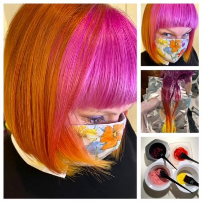 A girl with a bob colourred pink and copper at the klinik salon London