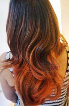 Brown hair that has been coloured with a copper balayage at the klinik salon London