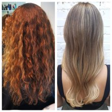Before and after of girl with dark warm blonde to ashy blonde at the klinik London
