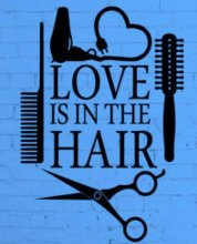 Blue poster with scissors combs hairdryer and brushes