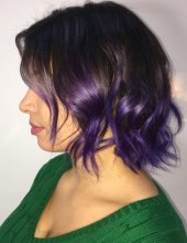 Hair that started to naturally grow out with lighter tips has been given a little injection of colour to add a bit of fun. Lilac on this occasion by Leyla at the klinik hairdressing London