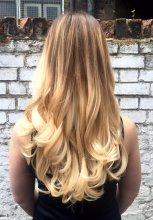 Long summer balayage using Olaplex and blowdried with Olivia Garden brushes by Leyla at the klinik hairdressing Farringdon