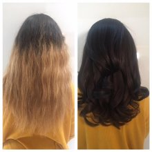 Long coloured blonde hair that has grown out by about 3 inches, coloured into a rich chocolate brown to give a glossy rich finish using L'oreal colours done by Leyla at the klinik hairdressing London