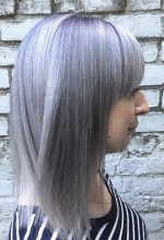 Prelightened hair being coloured into a silver metallic using Kenra colours by Guy Tang by Jenni at the klinik hairdressing London