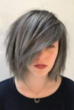 Hair pre lightened and then coloured into a steel grey using Schwarzkopf colours and Olaplex, done by Thea at the klinik hairdressing London
