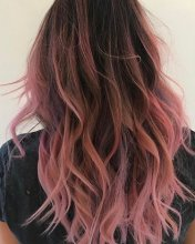 Lond tousled hair coloured stonewashed pink using Manic panic hair done by Thea at the klinik hairdressing!