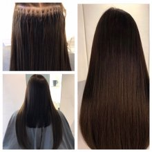 Medium long hair being extended using Easilocks system step by step at the klinik salon by Leyla.