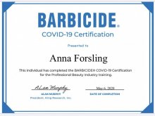 Barbicideblue Covid-19 Certification at the klinik