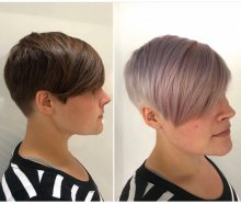 Dark hair coloured light into lilacs, mauve and pink at the klinik hairdressing
