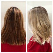 Coloured red hair has been coloured blonde with back to back highlights and added a root shadow to keep a naturalness. All done by Leyla at the klinik hairdressing London