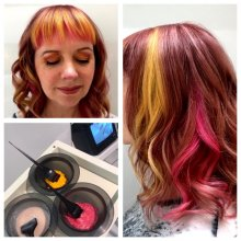 Shoulder length hair coloured a rose gold with a yellow and pink fringe done by Anna at the klinik hairdressing