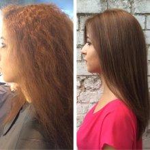 Colouring hair a natural brown using Olaplex to smooth hair down