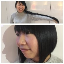 Client with natural length hair dow to her waist had it cut and donated to little princess trust by Jenni at the klinik hairdressing London