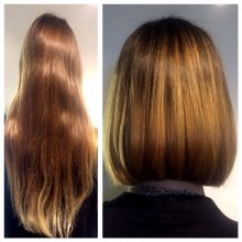 Long hair cut into a short bob by Leyla at the klinik Islington