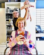 Grayson Perry in his new bob cut at the klinik hairdressing London