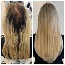 Before and after by Leyla doing blonde roots and fitting extensions