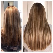 medium length hair over the shoulders has been extended by using Easilocks system done at the klinik by Leyla