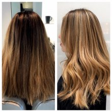 medium blonde hair has been highlighted throughout to upgrade it to a fresh summery blonde by Leyla at the klinik salon in London