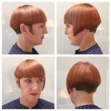Asymetric graduated bob cut with precision by Mark at the klinik hairdressing Farringdon London EC1