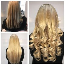 Natural blonde haor has been extended using 140 strands of Easilocks hair in 4 different tones. Leyla at the klinik is a specialist in hair extensions.