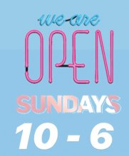 Neon sign text saying we are open on Sundays 10 - 6 pm at the klinik salon London