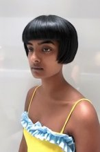 Cutting a hair that the client wants to start to grow out, giving her a short cute little bob with Texture inside but the outline is blunt all done by Anna at the klinik hairdressing London