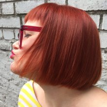 Hair being coloured Red Mauve using Loreal and Olaplex. Finish by Sebastian Trilliance and Unite 7 Seconds shine spray by Jenni at the klinik hairdressing in London
