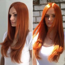 Long hair being coloured an intense copper colour from L'Oreal Inoa range. It looks like the hair is on fire by Leyla at the klinik hairdressing in London