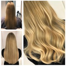 Hair being extended by using Easilocks hair done by Leyla at the klinik salon EC1R 4QE London