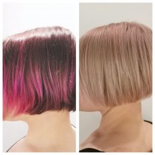 Pink hair showing a transformation to a blonde done at the klinik hairdressing London