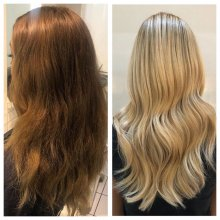 Two pictures showing a client with brunette hair and then being coloured into a blonde by Leyla at the klinik hairdressing London