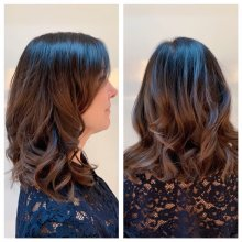 Hair extended by Easlocks to create volume by Leyla at the klinik hairdressing