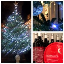 Picture of the christmas tree and mulled wine and baubles from the klinik hairdressing London